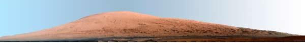 Der Mt. Sharp (5000 m hoch) auf dem Mars